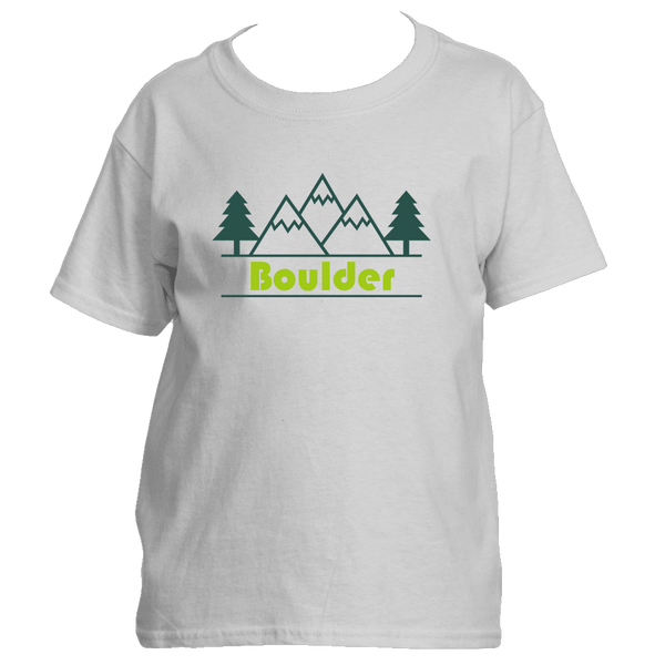 Boulder, Colorado Mountain & Trees in Green - Youth/Kid's T-Shirt