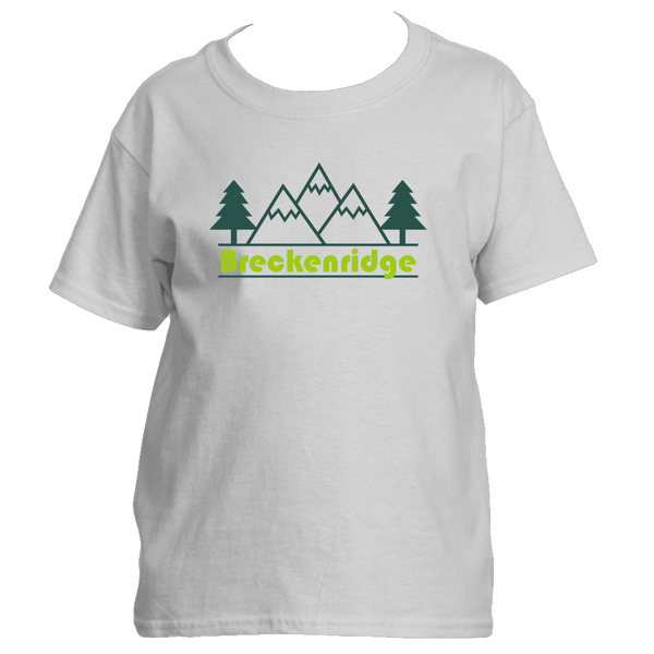 Breckenridge, Colorado Mountain & Trees in Green - Youth/Kid's T-Shirt