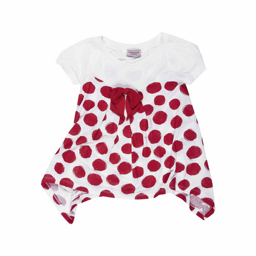 Monnalisa - Girls Short Sleeves Jersey Tunic With Red Polka Dots, White