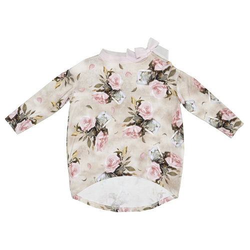 Monnalisa - Teen Girl Long Sleeve Roses Jersey Top - Sale, Beige - 12Y