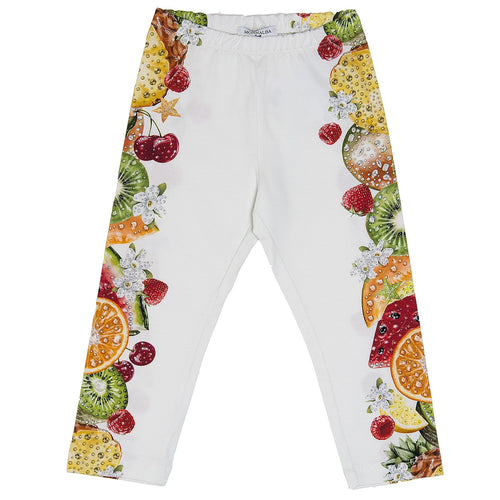 Monnalisa - Girls Tropical Print Jersey Leggings, White - 8Y