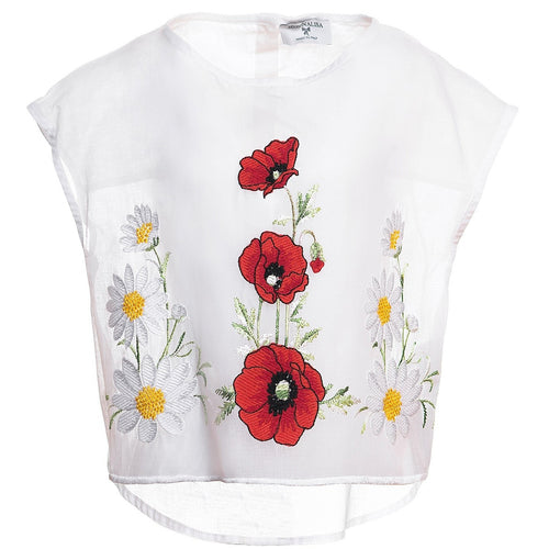 monnalisa girl light shirt for summer days embroidered with flowers