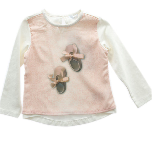 SHE.VER chic - Baby Girl Cotton Long Sleeve Ballet T-Shirt, Milk