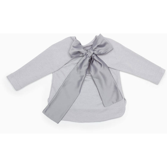 Casilda y Jimena - Girls Back Bow Sweater With Front Pocket, Grey