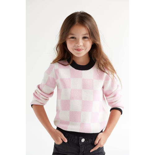 Atelier Child - Girls/Boys Cashmere Merino Check Sweater, Pink