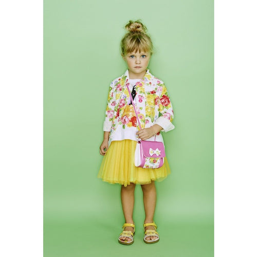 Monnalisa - Girls Tatami Stitch Short Jacket, Floral Print - 4Y