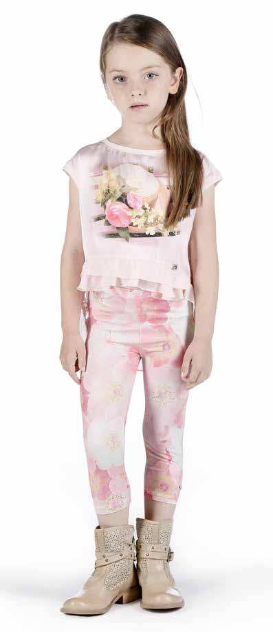 Fun&Fun - Baby Girls Basic Leggings With Fantasy Flower Design, Pink