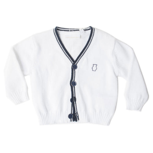 Minibanda - Baby Boy Classic Cotton Cardigan, White - 3M