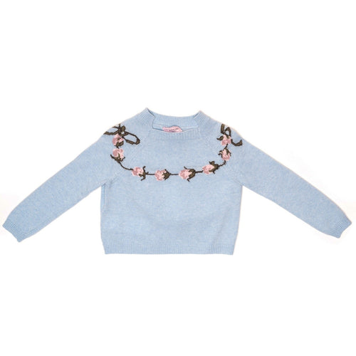 Monnalisa - Girls Roses Crop Sweater With Open Back