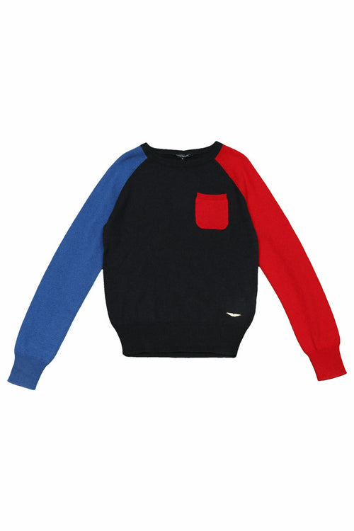 Aston Martin - Boys Color Block Long Sleeve Brenna Cashmere Sweater, Navy