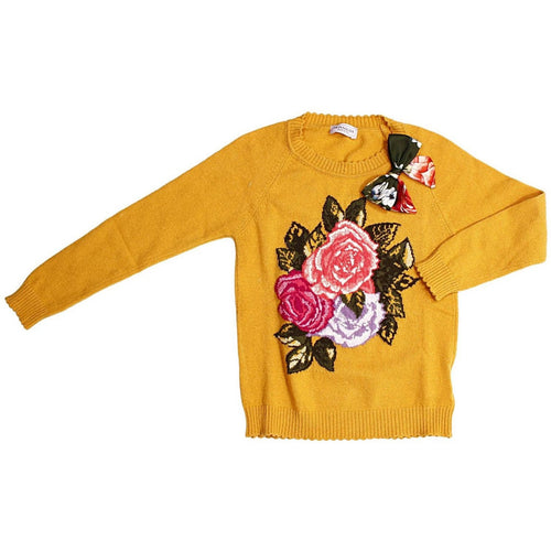 pretty ochre sweater with beautiful roses ornament fall colors