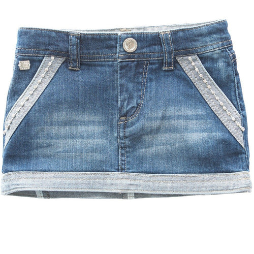 Fun&Fun - Baby Girl Kisses Mini Skirt, Denim