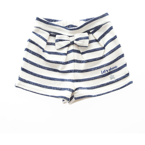 3Pommes - Baby Girl Sweatshirt Fleece Stripe Shorts, Off White - 9/12M