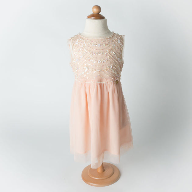 Miss Blumarine - Girl Sleeveless Dress With Beads Embroidery, Peach - 4Y