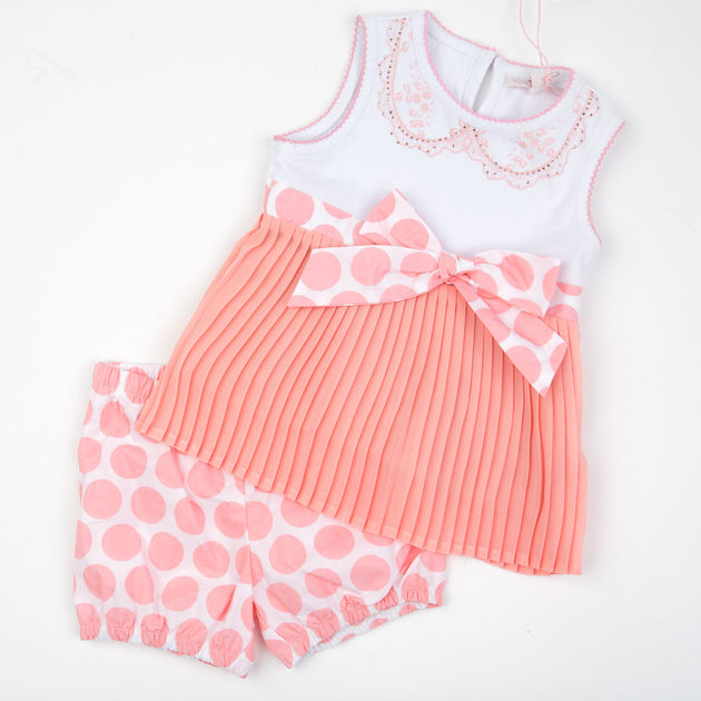 Silvian Heach Bebe - Baby Girl Dress With Diaper Cover Shorts, Peach