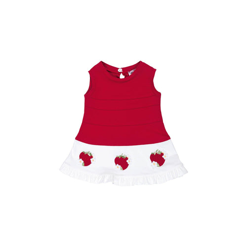 Monnalisa - Baby Girls Sleeveless Strawberry Dress, Red - 6M