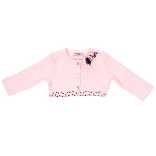 Monnalisa - Baby Girls Long Sleeve Cropped Cardigan, Powder Pink