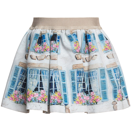 Monnalisa - Baby Girls Finnestrelle Ottoman Pane Windows Skirt, White