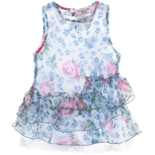 baby girl ruffle dress by Monnalisa with undershirt perfect summer occasion outfit