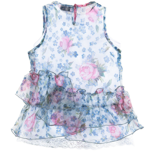 Monnalisa - Baby Girls Floral Organza Dress With Slip Sale