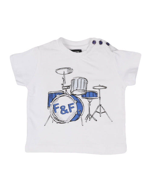 Fun&Fun - Baby Boy Drums Short Sleeve T-Shirt, White