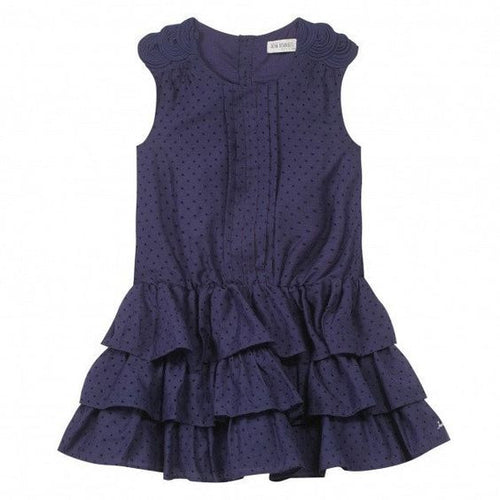 Jean Bourget - Girls Navy Micro Dot Tiered Flounce Ruffle Dress, Navy