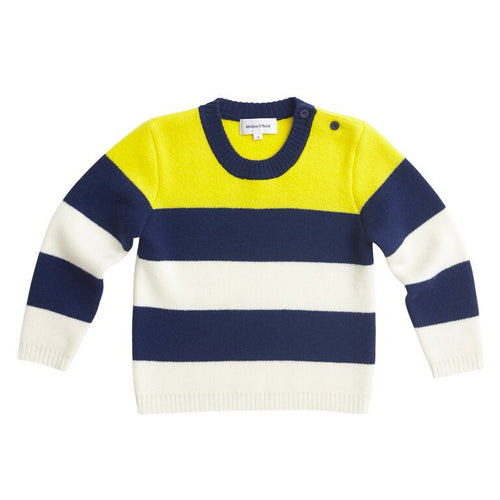 Atelier/Child - Boys Cashmere Blend Stripes Sweater, Navy Yellow