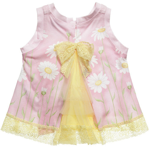 Monnalisa - Baby Girl Lace Daisy Dress, Pink