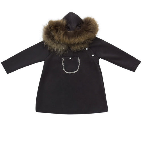 Casilda y Jimena - Girls Dress With Fur Hood And Front Pocket, Black
