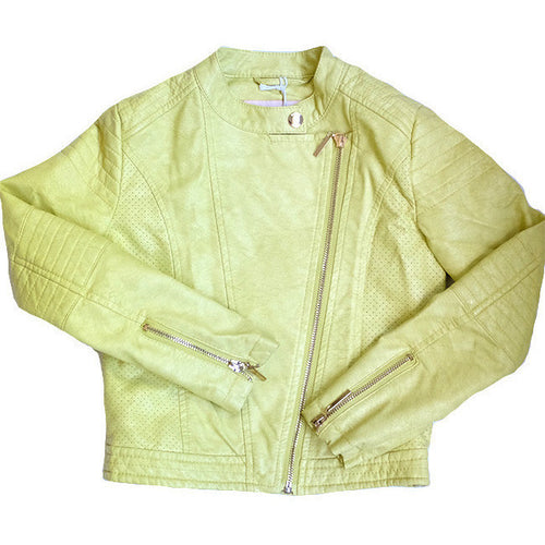 Gaudi - Girls Teen Faux Leather Jacket, Yellow - Gaudi - Outerwear - www.kidinvogue.com