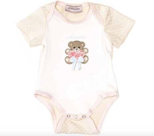 Monnalisa - Baby Girls Bear Jersey Cotton Onesie, White - 0M