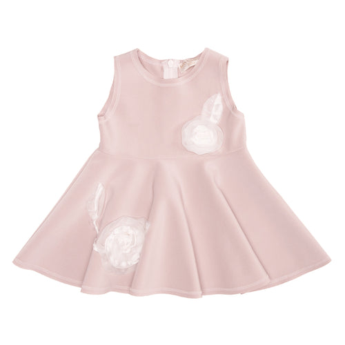 Monnalisa - Baby Girl Neoprene Sleeveless Rose Dress, Pink