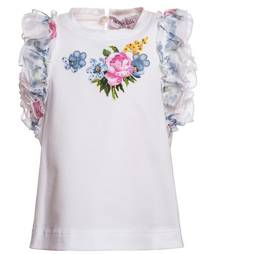A rubber print of a flower bouquet on the front of the T-shirt, ruffles around the short sleeves. monnalisa is an international designer that is sold in best boutiques. This top is on sale outlet.