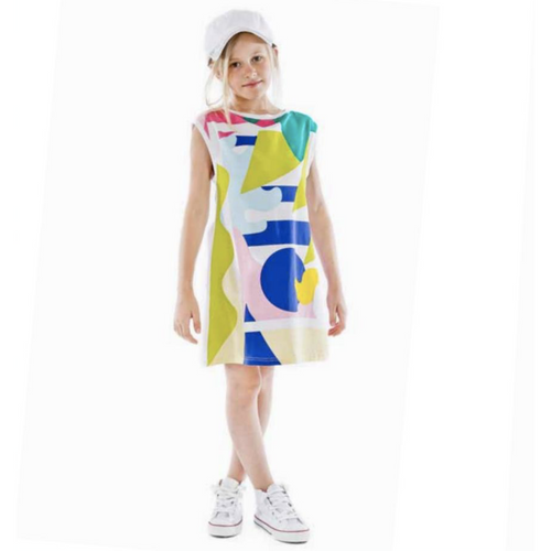 Fun&Fun - Girls Geometrical Fantasy Tunic Dress, White