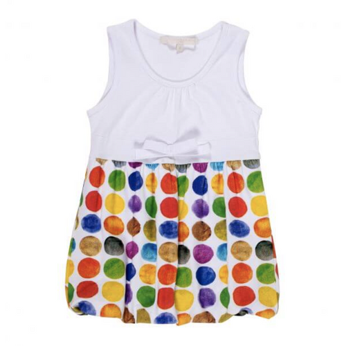 Silvian Heach - Girls Multicolor Polka Dot Sleeveless Dress, White