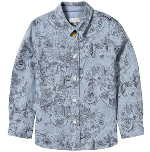Paul Smith Junior - Boy Doodle Button Shirt Long Sleeve, Grey