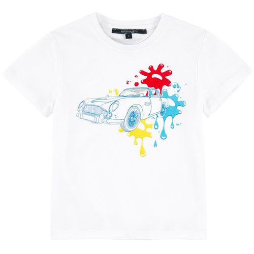 Aston Martin - Boys Hyring T-Shirt Car Splash, White
