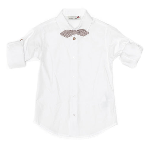 Monnalisa Hitch-Hiker - Boys Classical Long Sleeve Shirt With Detachable Bow, White