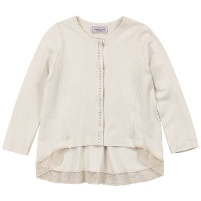Monnalisa - Girls Light Beige Long Sleeve Lace Viscose Jersey Cardigan, Ivory