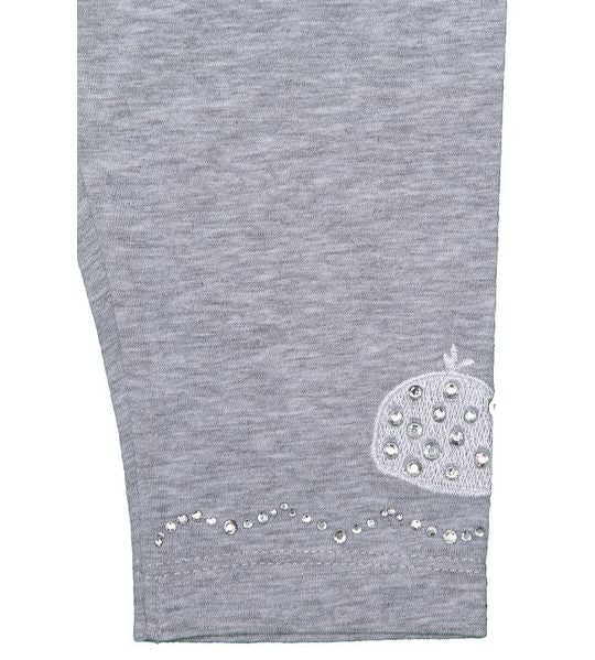 Monnalisa - Baby Girls Basic Whale Leggings With Rhinestones, Grey