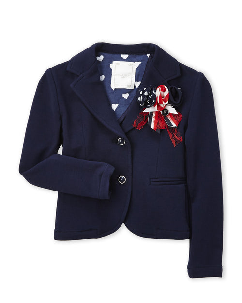 Silvian Heach Junior - Girls Embellished Blazer With Flower Appliqué, Navy