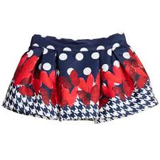 Fun&Fun - Baby Girls Navy Polka Dot and Butterfly Print Pleat Skirt, Navy