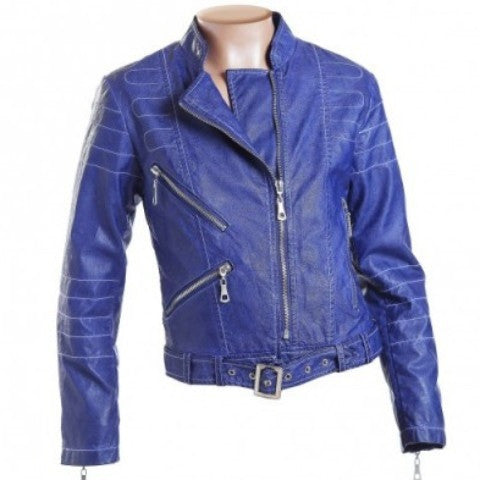 Fun&Fun - Girls Faux Leather Biker Jacket, Blu Cobalto - Fun&Fun - Outerwear - www.kidinvogue.com