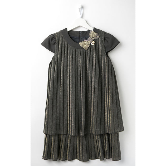 Miss Blumarine - Girl Grey Gold Dress - Blumarine - Dres - www.kidinvogue.com