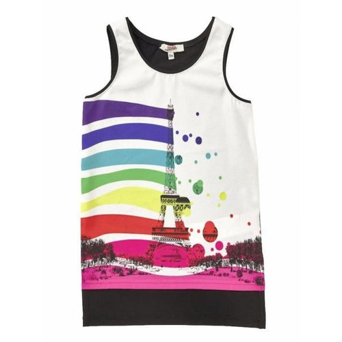 Junior Gaultier - Girls Sleeveless Top With Eiffel Tower, Multi