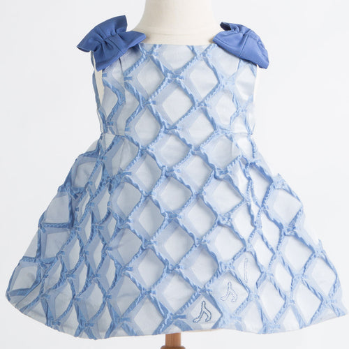 MiMiSol - Baby Girl Patterned Dress with Shoulder Bows, Blue - 2Y