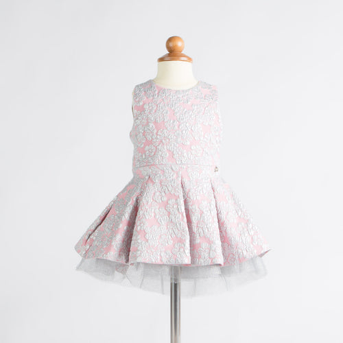 Microbe by Miss Grant - Baby Girls Silver Flowers Dress, Pink - 12M