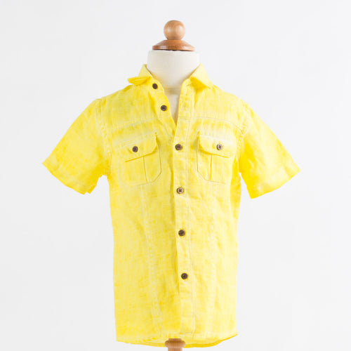Heach Junior by Silvian Heach - Boys Short Sleeve Linen Shirt Whitaker, Limone