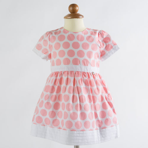Silvian Heach Bebe - Baby Girls Large Polka Dot Engonia Dress, Pink and White - 9M