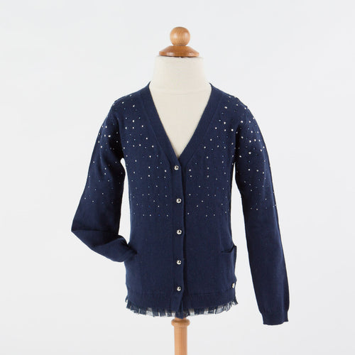 Silvian Heach Kids - Girls Knitted Sweater Cardigan, Dark Blue